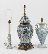 A Herend style blue and white baluster lamp, 36cm high,