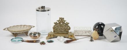 A group of modern decorative objects, including a Victorian style brass desk stand,