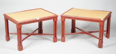 A pair of modern red lacquer and tan shagreen low side tables, 71cm wide x 48cm high, (2).