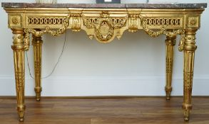 A Neo Classical style Italian giltwood breakfront marble topped console table,