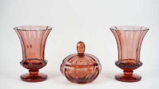 A pair of modern Moser red glass vases of footed form, 30cm high,