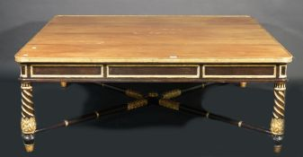 A Louis XVI style mahogany and parcel gilt decorated square coffee table,