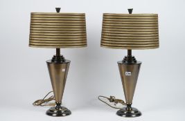 A pair of modern patinated metal table lamps of stepped conical tapering form, 37cm high, (2).