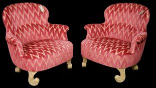 Rose Tarlow, a pair of modern armchairs with red and gold zigzag upholstery,