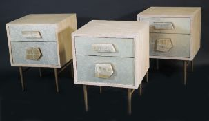 West Elm; a group of three hardwood Roar + Rabbit jewelled bedside tables, 46cm wide, (3).