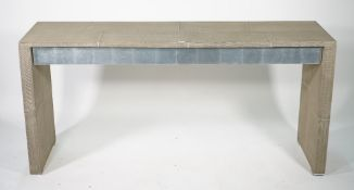 A modern chrome and beige lacquer two drawer console table, 160cm wide x 75cm high.