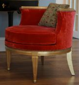 A modern giltwood red velvet upholstered tub chair, 67cm wide x 65cm high.