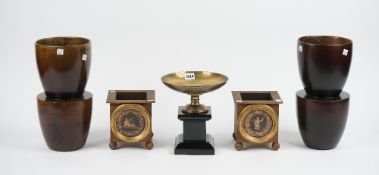 A Thomas Goode brass and marble tazza, 22cm high, a pair of turned wooden vases by Catrine Tontini,