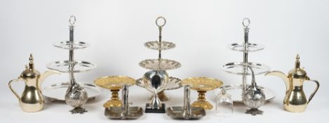 A large quantity of silver plated wares, comprising; three cake stands, various table place mats,