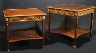 A near pair of Regency style mahogany and ormolu mounted square centre tables,