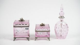 Baldi, Italy; a pink glass and silver plated box and hinged cover with engraved decoration,