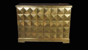 The Barbara Barry collection by Baker; a modern gold painted two door side cabinet,