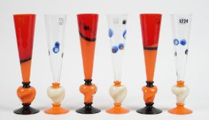 A set of six Carlo Moretti champagne flutes, each signed & dated 2005, 27.2cm high, (6).
