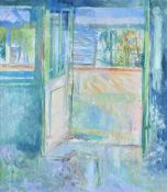 Jane Corsellis (b.1940), Balcony Malacca, oil on canvasm, signed, 100cm x 87cm.