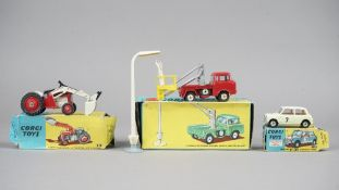 Three Corgi die-cast vehicles, comprising; Gift set No 14 Hydraulic tower wagon with lamp standard,