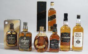 Six bottles of whisky, comprising; Grant & Sons Black Barrel,