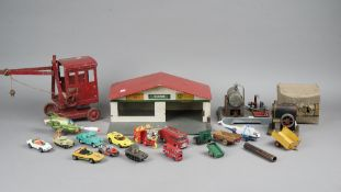 Collectable vintage toys, including; a Tri-ang crane, a German steam engine,