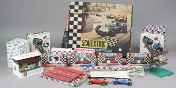 A quantity of vintage Scalextric Cars track and accessories, including two Lotus,