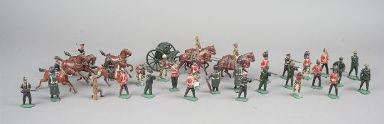 A large quantity of mainly Britains hollow cast lead figures, pre-war, mainly military, (a.f.