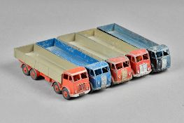 Five Dinky Foden high sided flat bed trucks, (5).