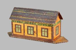 A polychrome painted wooden Noah's Ark and animals, early 20th century,