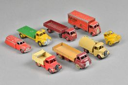 Seven Dinky die-cast commercial vehicles including; Guy 'Slumberland' van,