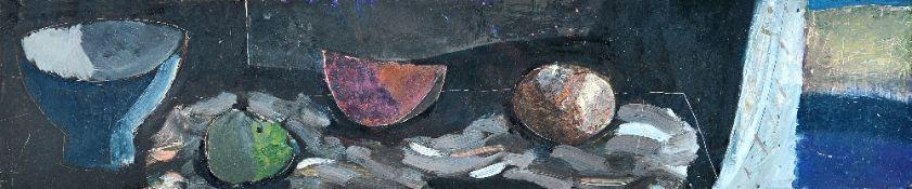 Clive Blackmore (b.1940), Still life with Sea Window, oil on board, 12.5cm x 57.5cm.
