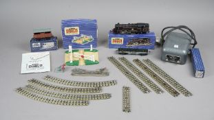 A Hornby OO gauge EDL18 standard tank locomotive, 2-6-4, a D1 level crossing, track and accessories,