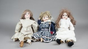 Four early 20th century Armand Marseille bisque head dolls,