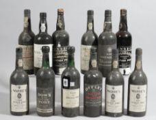 Twelve bottles of port comprising; 1985 Warre's, two 1980 Warre's 1976 Grahams, 1970 Offley,