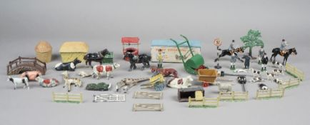 A quantity of Britains hollow cast lead animals, pre-war, including fox hunting group,