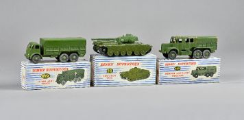 Three Dinky Supertoys military vehicles, comprising; 622 10 ton army truck,