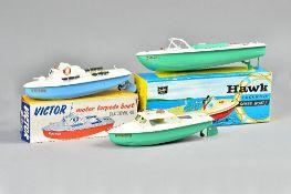 A Sutcliffe 'Hawk' clockwork tinplate speed boat, boxed, a Sutcliffe 'Motor MTB',