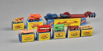 Eight 'Matchbox' series die-cast vehicles by Moko Lesney comprising;