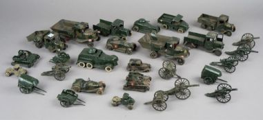 A quantity of Britains hollow cast lead, pre-war, military vehicles,