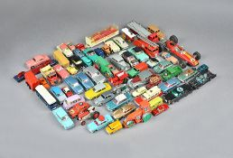 A quantity of playworn die-cast vehicles, including; Sport-On, Corgi, Dinky and Matchbox,
