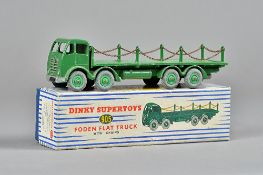 A Dinky 905 Foden flat truck with chains, green livery, boxed.