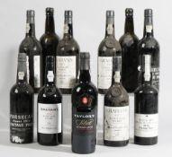 Twelve bottles of port comprising; Four 1977 Grahams Vintage, two 1977 Fonseca's Finest Vintage,