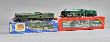 A Hornby OO 'Bristol Castle' locomotive and tender and a 'Sir Dinadan' loco and tender, both boxed,