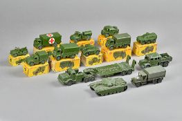 A quantity of Dinky military vehicles including; 641 Army 1-ton cargo truck, 643 Army water tanker,