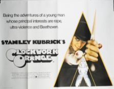 FILM POSTERS, STANLEY KUBRICK 'A CLOCKWORK ORANGE' AND 'BARRY LYNDON':: two film posters,