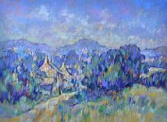 Geoff Marsters (20th Century), Houses in the Auvergne; Essex Landscape, two, pastel,