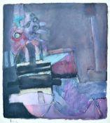 Roger Cecil (b.1942), Landscape series 33, mixed media, signed, 47cm x 42.5cm.