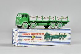 A Dinky 905 Foden flat truck with chains, green livery.