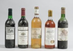 Five bottles of wine comprising; 1983 Chateau Les Elliez Bordeaux, 1986 Stellenryck,