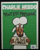 CHARLIE HEBDO, 'JE SUIS CHARLIE', 2015: a front cover of the satirical weekly magazine,