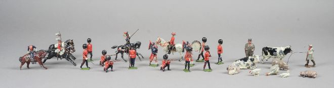 A quantity of Britains hollow cast lead soldiers, farmyard animals and accessories, (qty).