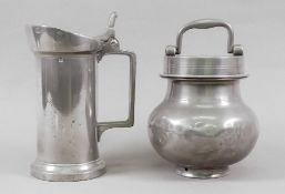 A French pewter cylindrical demi-litre t