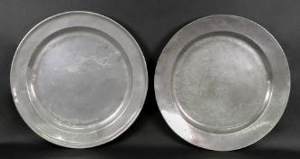 A large circular pewter arms dish, 45.5c