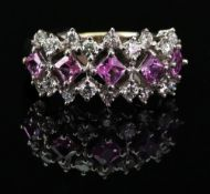 An 18ct white gold, pink sapphire and di